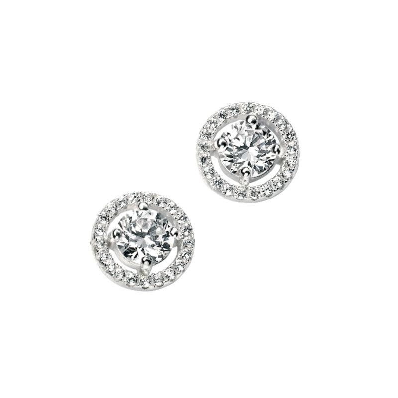 Silver stud earring with round cz surrounded by pave halo