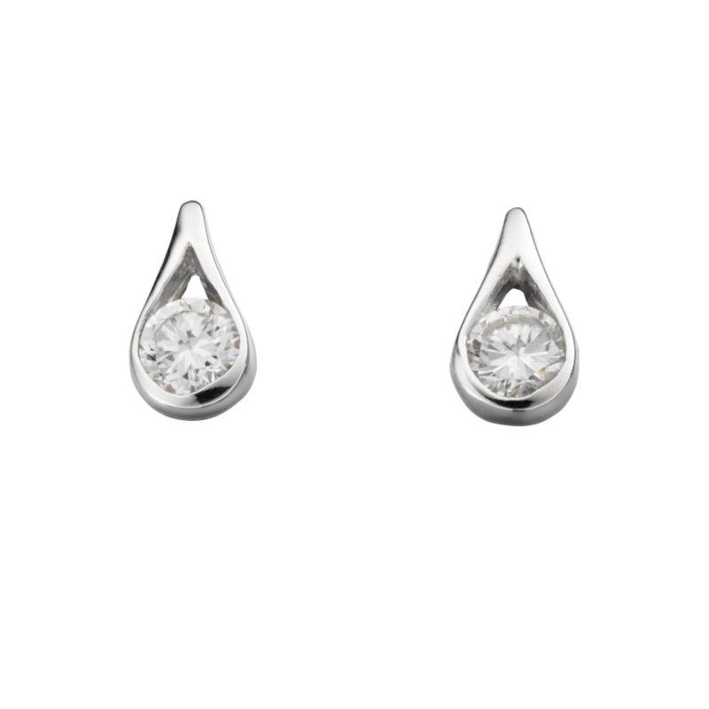 Silver Cubic Zirconia Teardrop Earrings Jewellery Gecko