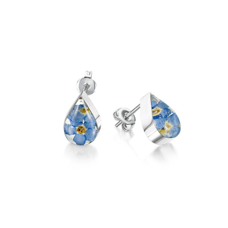 Silver teardrop earrings with real forget me not flowers