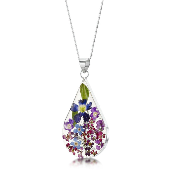 Real Flower Jewellery Purple Haze Large Teardrop Pendant