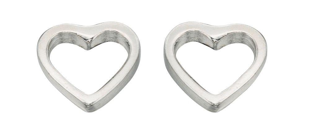 Silver Tiny Open Heart Stud Earring Earrings Gecko