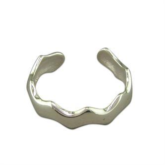 Silver Toe Ring Plain Wave