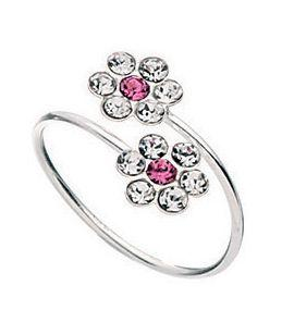 silver toe ring with two pink and white crystal flowers