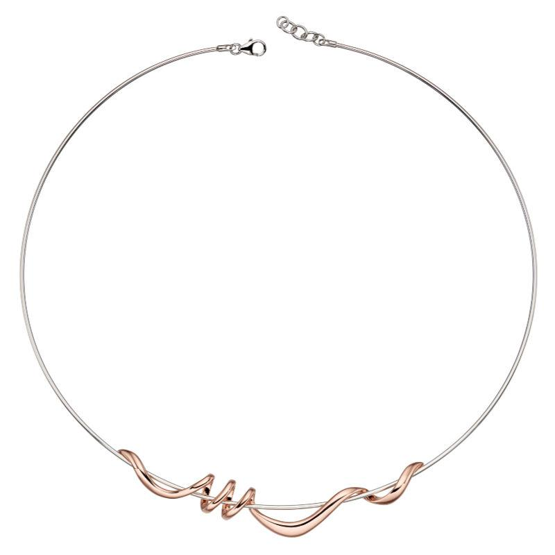 Silver Torque Necklace with Rose Gold Twist Jewellery Gecko