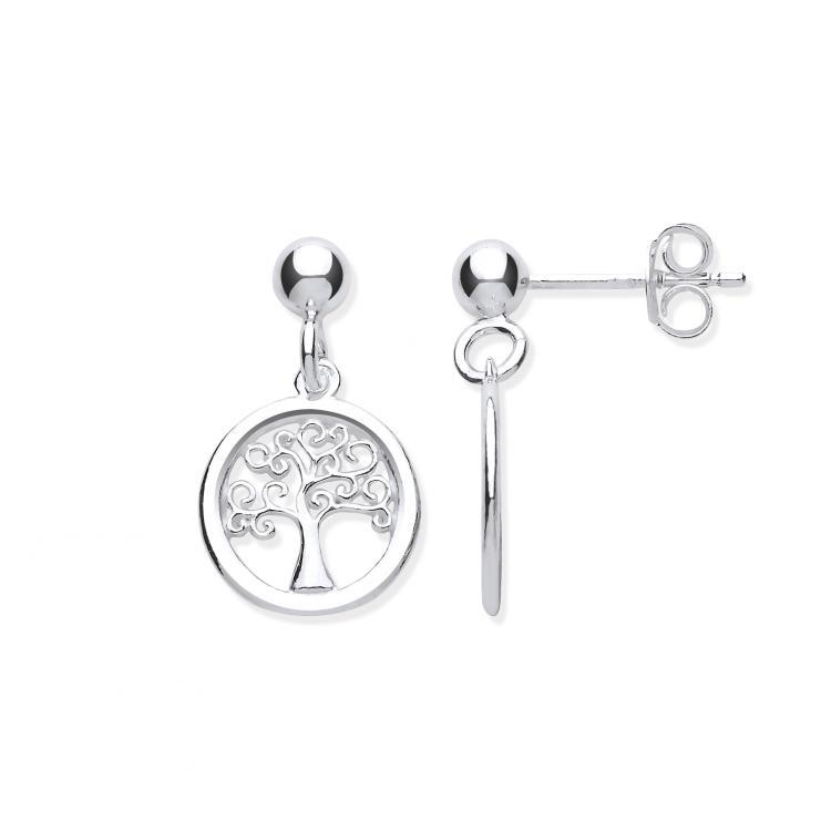 Silver Tree of Life Drop Earrings Jewellery Hanron