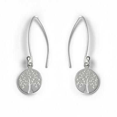 Silver Tree of Life disc Drop Earrings