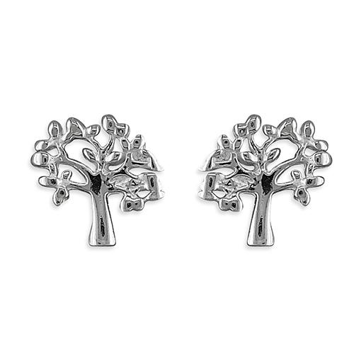 Silver stud 'Tree' earrings in a Tree of Life design.