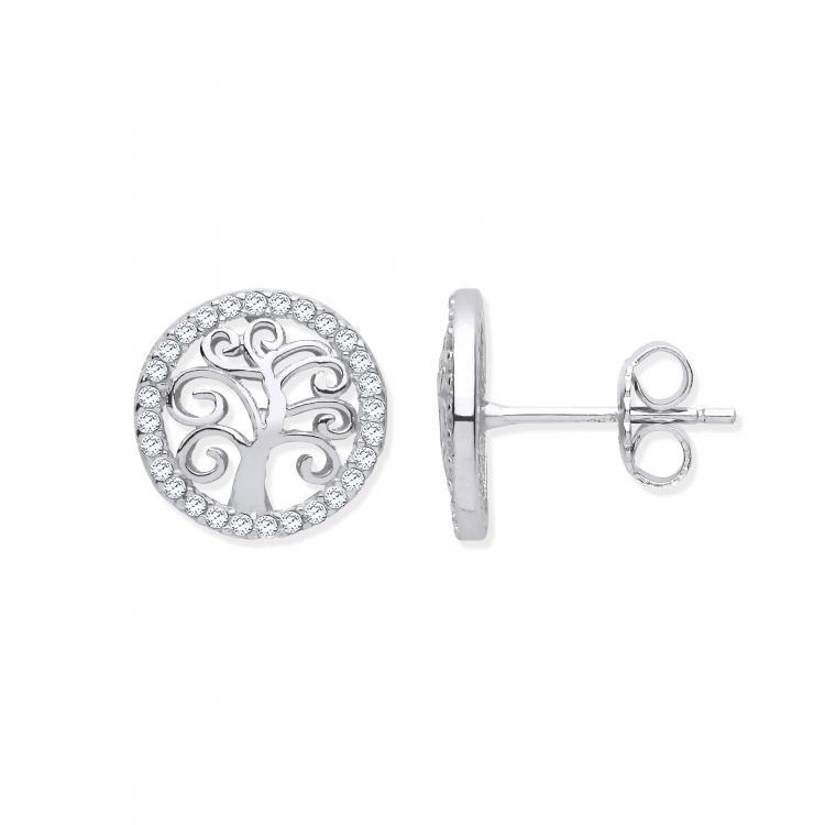Silver Tree of Life Stud Earrings with Cubic Zirconia Jewellery Hanron
