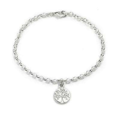 Sterling Silver belcher chain bracelet with tree of life disc charm dangle