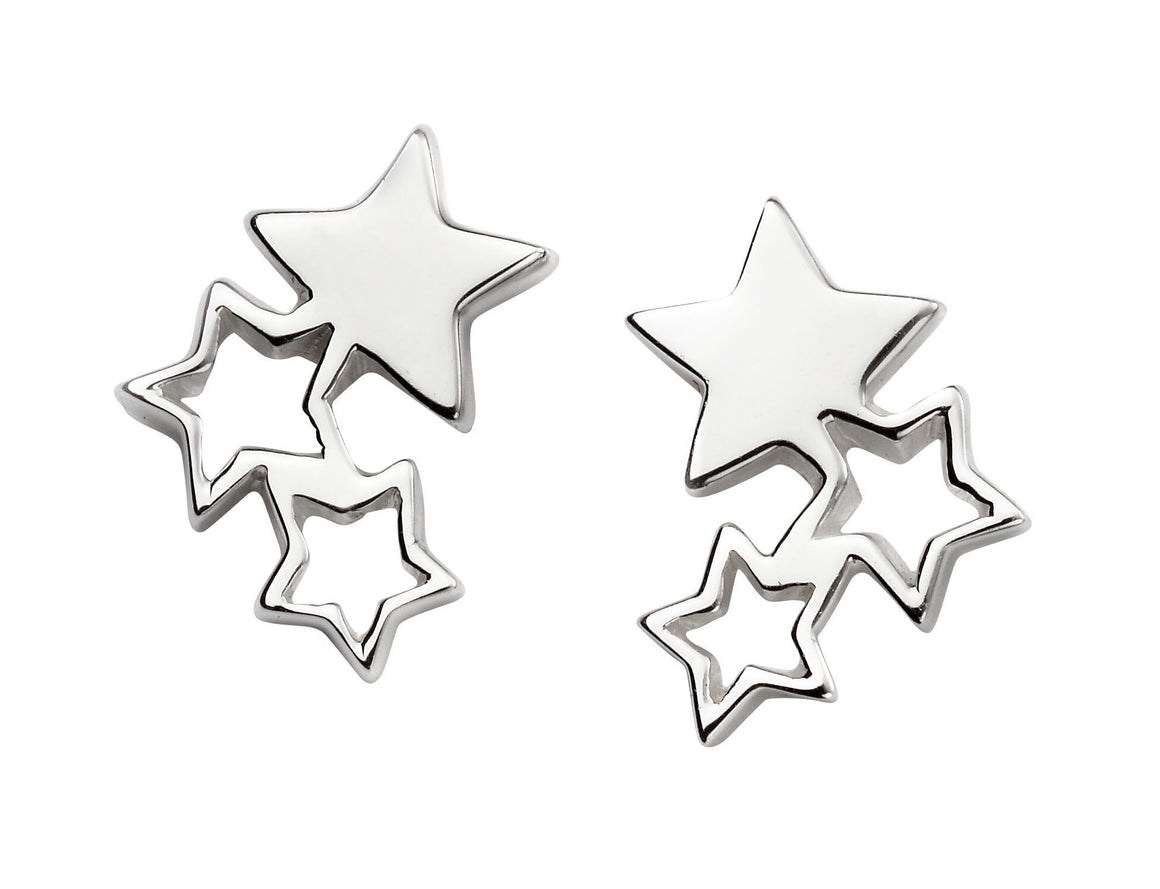 Silver Triple Star Stud Earrings