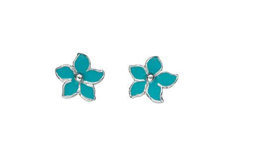 Turquoise Enamel Flower Earrings