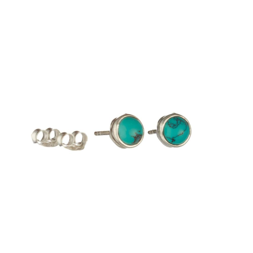 Silver Turquoise Stud Earrings Jewellery Banyan