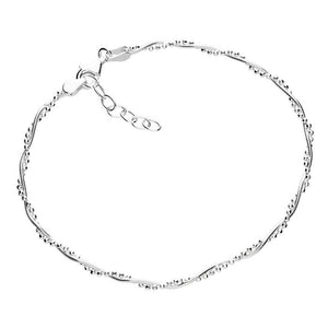 silver anklet of two twisted chains, a snake and a beaded chain.