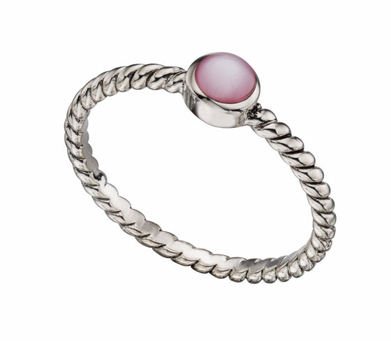 Silver Twisted Ring with Pink Mother of Pearl