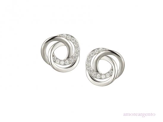 Silver Utopia Spiral Earrings with CZ