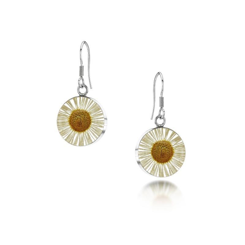 Real daisy flower round drop earrings in sterling silver