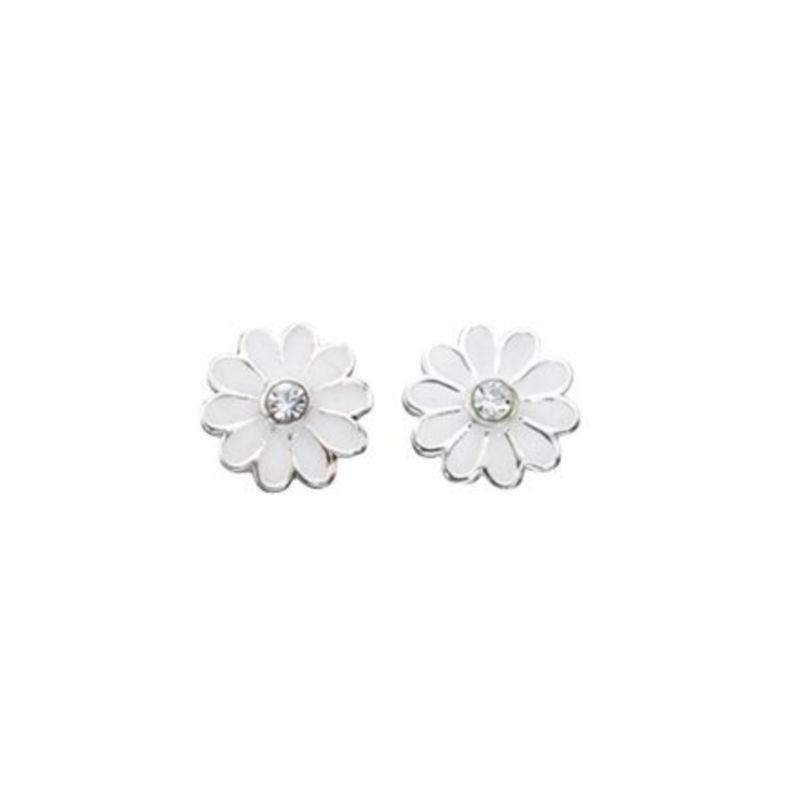 White Daisy Stud Earrings Jewellery Gecko