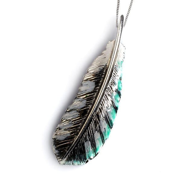 Silver Handpainted Woodpecker Feather Pendant