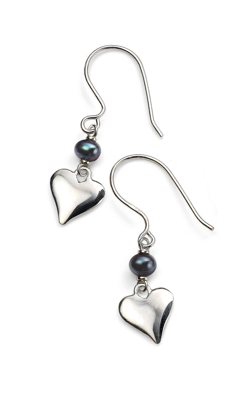 Black Freshwater Pearl Earrings with Heart Jewellery Gecko