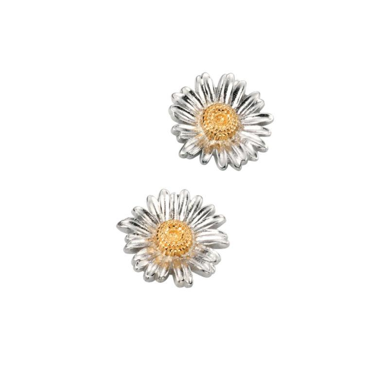 silver and gold daisy stud earrings