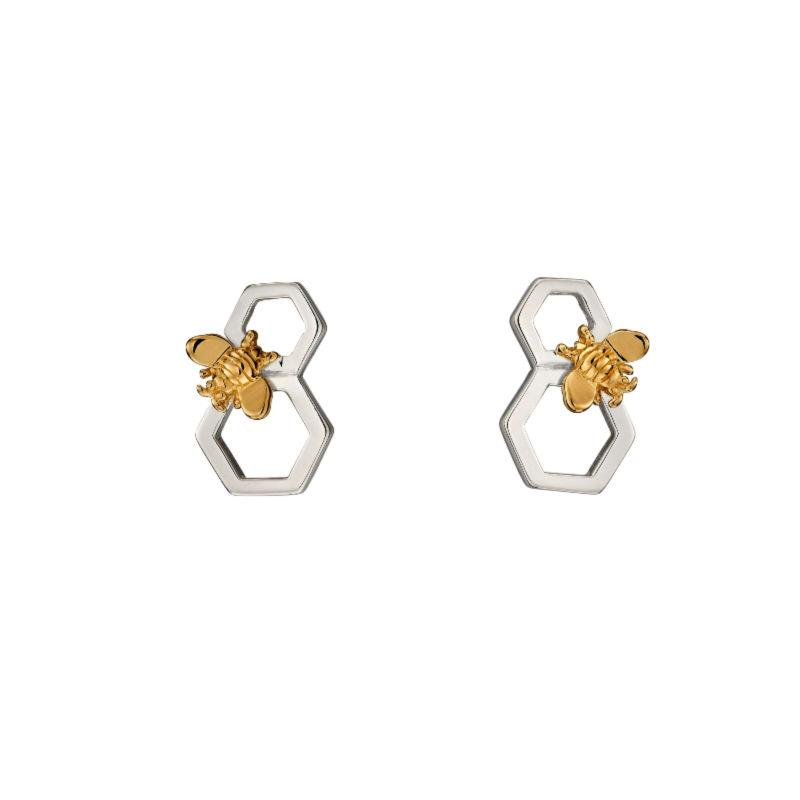 Honeycomb with Bee Earrings in Silver and Gold Jewellery Gecko