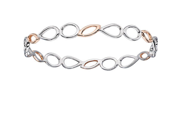 Silver and Rose Gold Plated Open Shapes Bangle