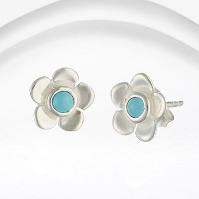 Silver and Turquoise Flower Stud Earrings