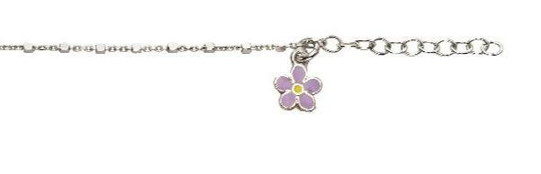 Silver Anklet with Flower Charm
