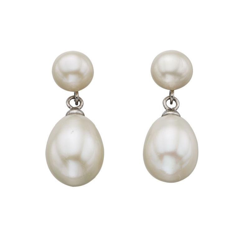 Double Pearl Drop Earrings Jewellery Gecko