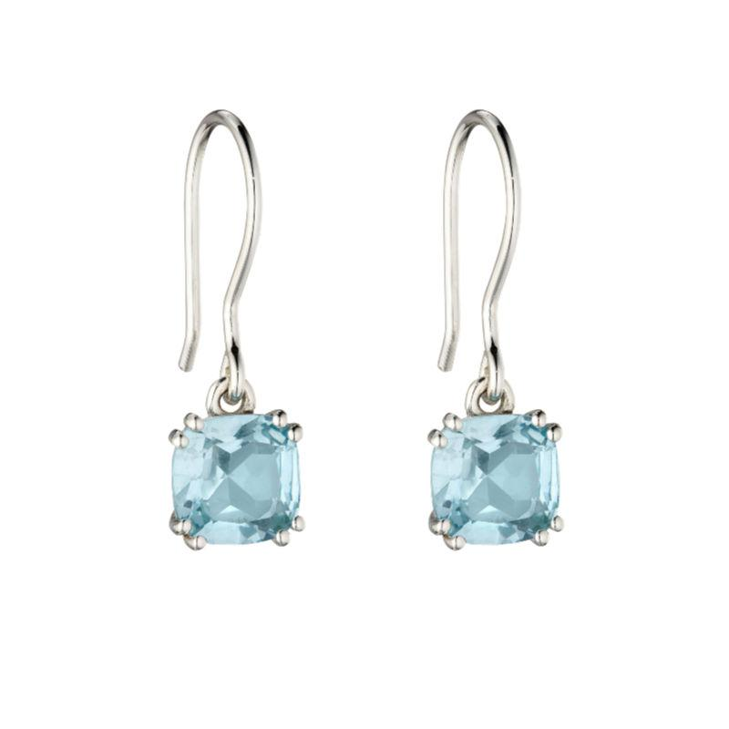 Silver drop earrings with blue topaz in a cushion-cut design
