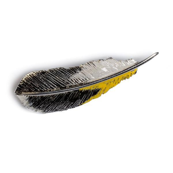 Silver Handpainted Goldfinch Feather Brooch Jewellery Henryka