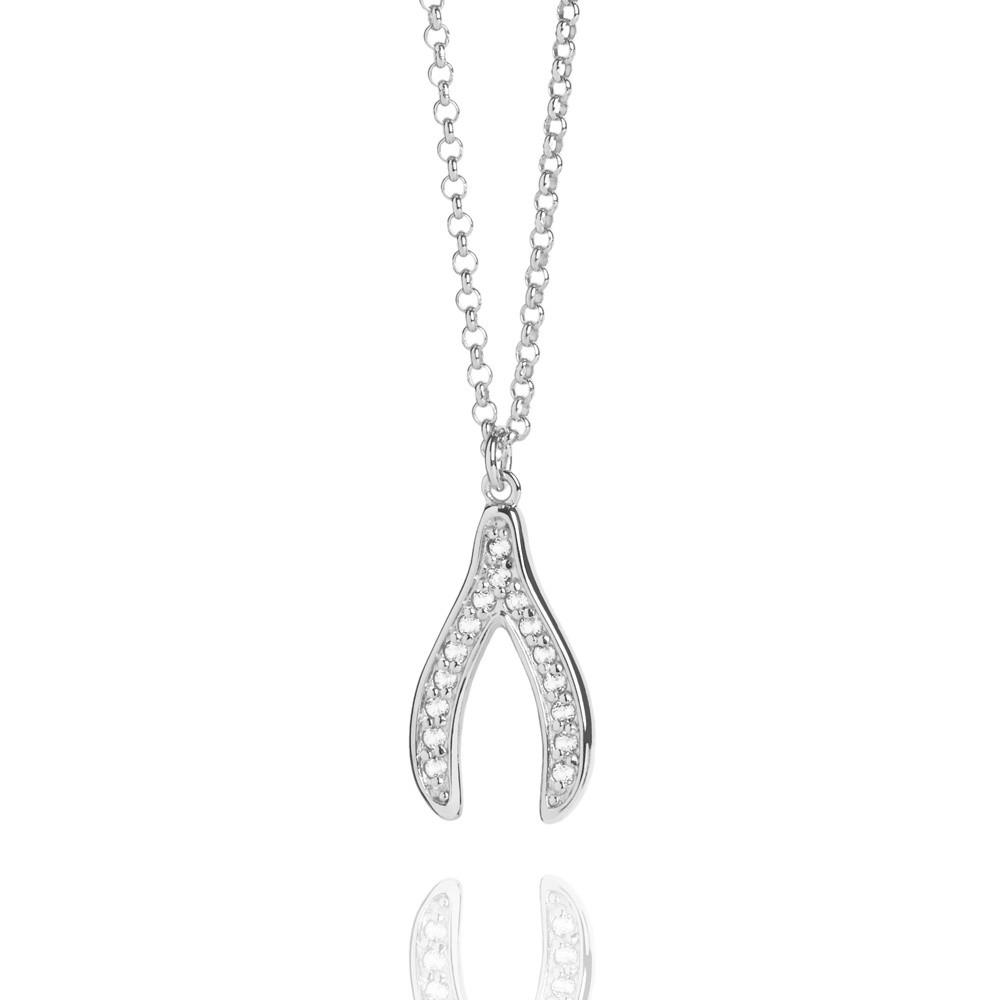 Silver Wishbone Necklace with Topaz by Muru Jewellery JoolsJewellery.co.uk