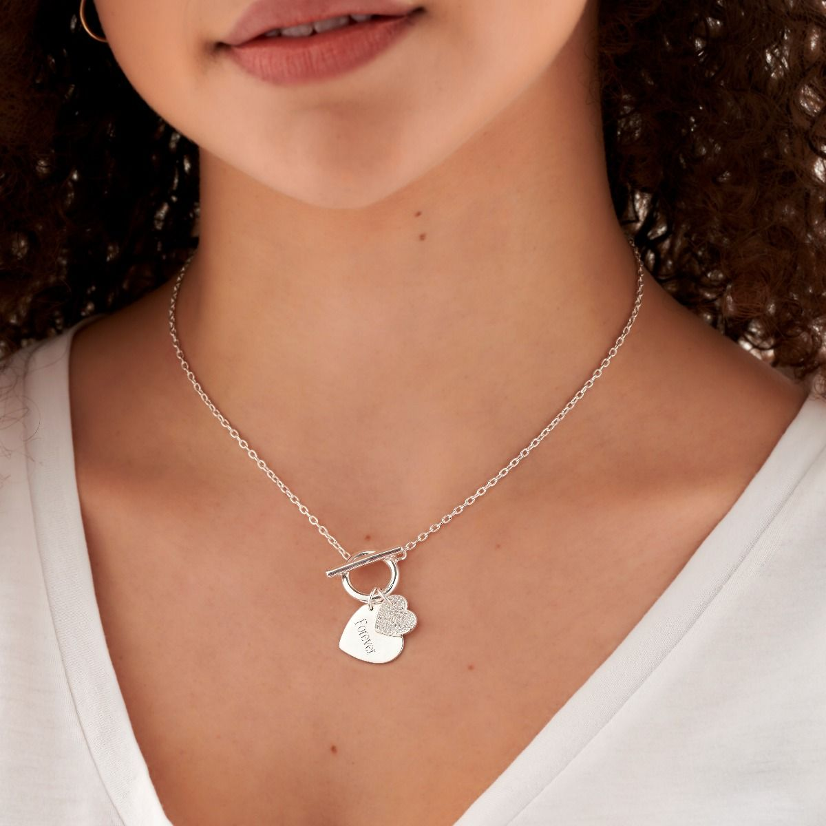 Silver Double Heart Necklace with Cubic Zirconia's Jewellery Gecko