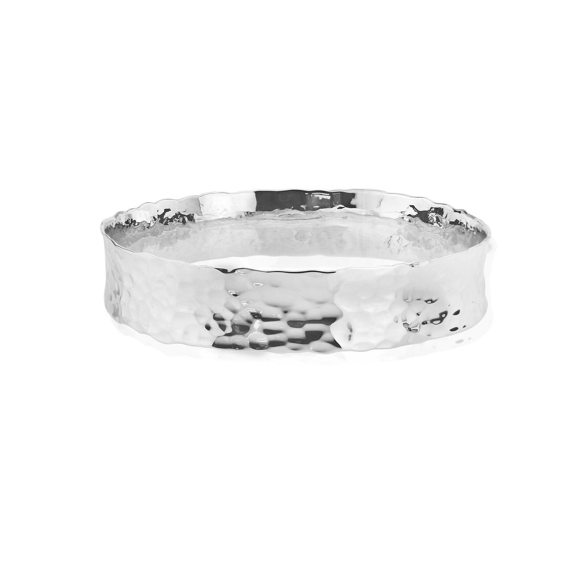 Solid Silver flat Hammered bangle in a round design
