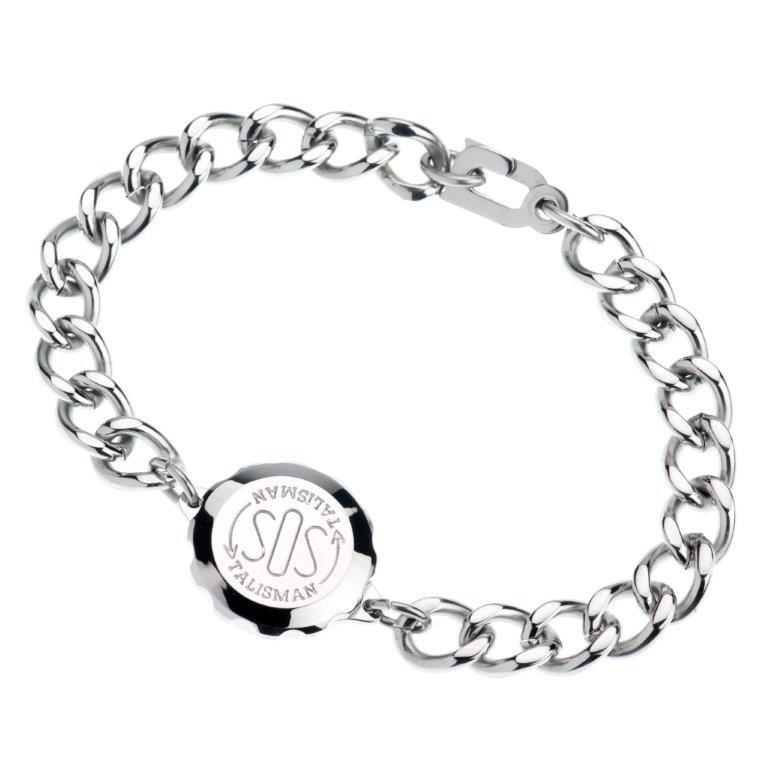 Gents SOS Medical ID Bracelet with Stainless Steel Links Jewellery SOS Talisman With Engraving