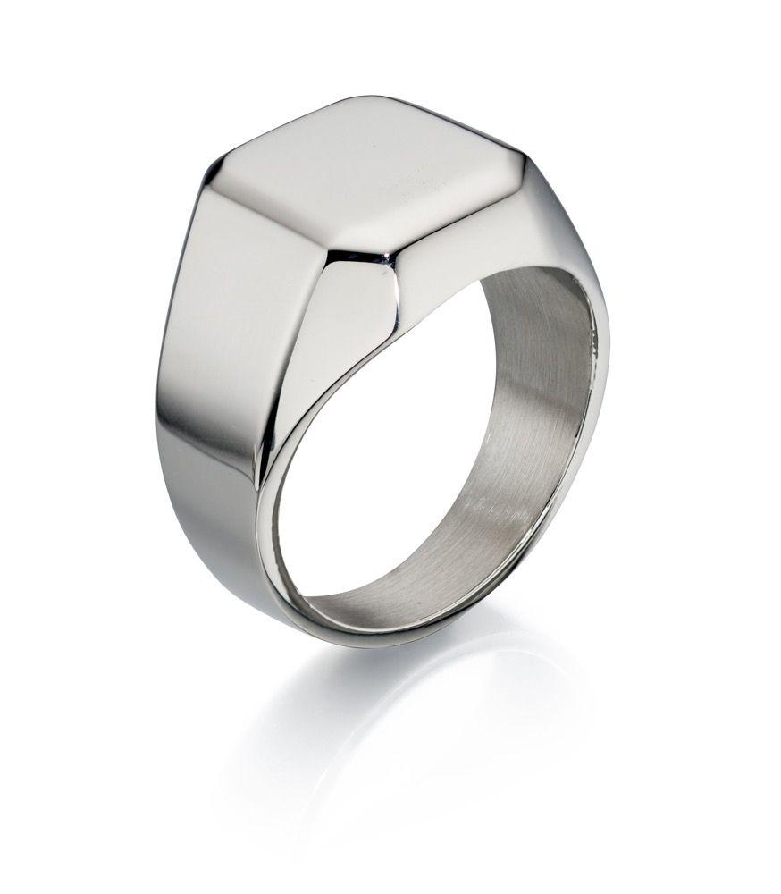 Stainless Steel Signet Ring for Men Jewellery Gecko Q 1/2