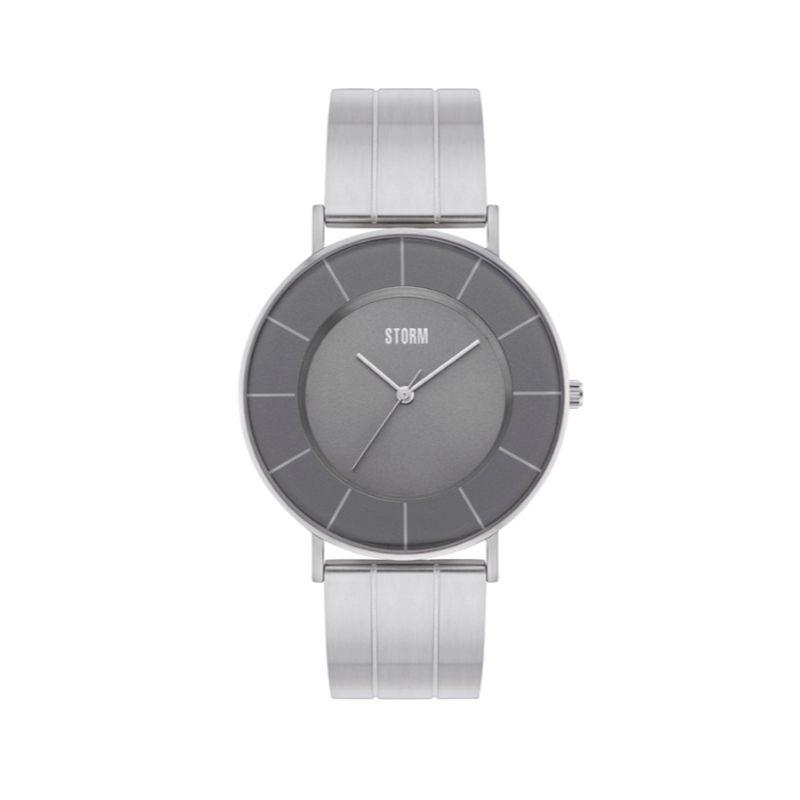 Storm men's watch with round grey minmalist dial and sold silver stainless steel bracelet