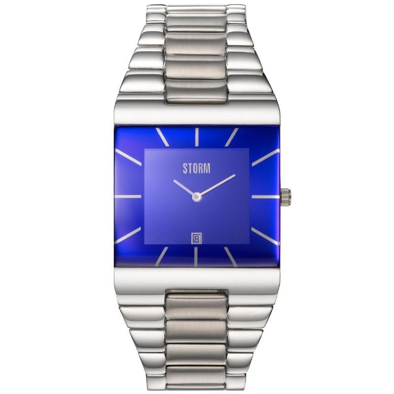 Storm Omari men's square watch with lazer blue glass and stainless steel linked strap