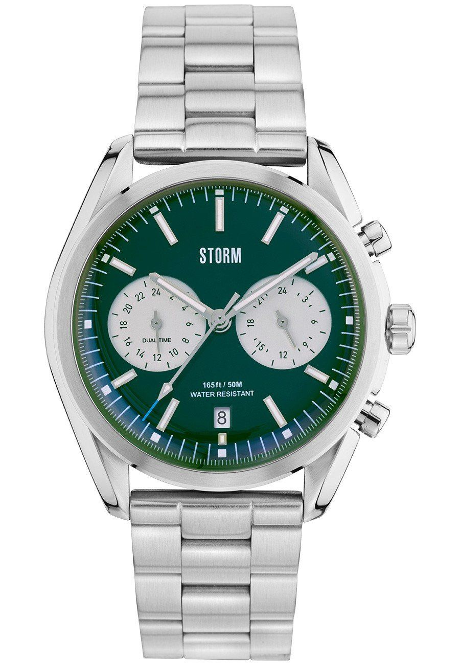 Storm London men's watch with stainless steel strap and case and green dial with chronograph windows