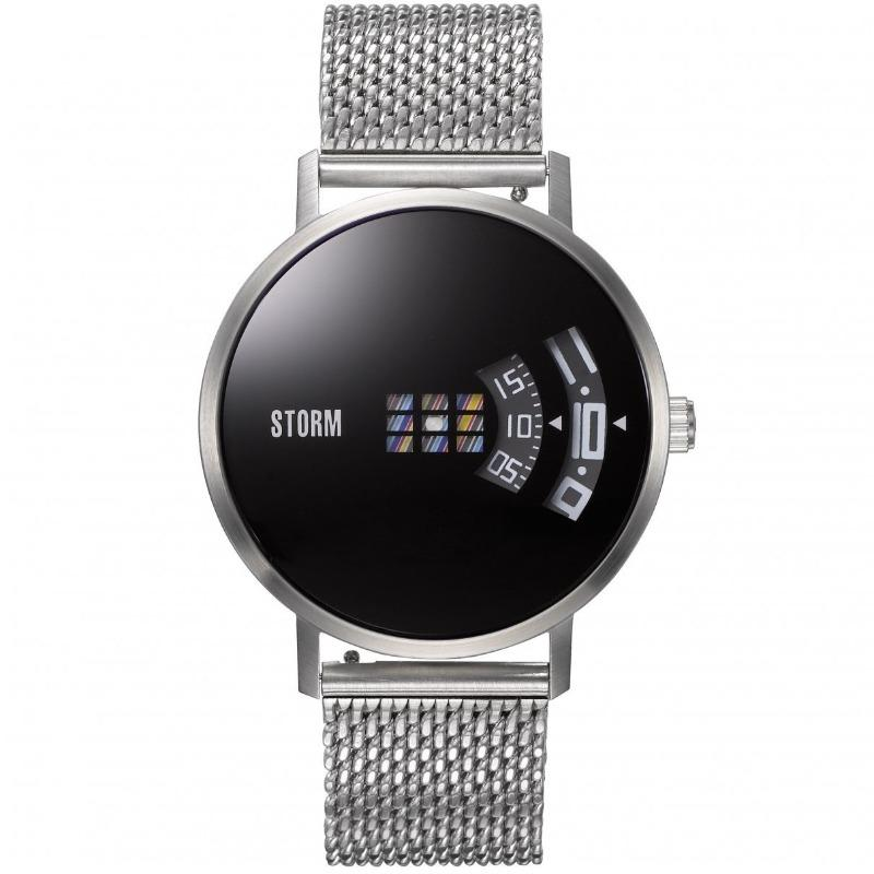 Storm London men's watch with black dial and two revolving discs, one for the hours, one for the minutes, to tell the time. With a stainless steel mesh strap