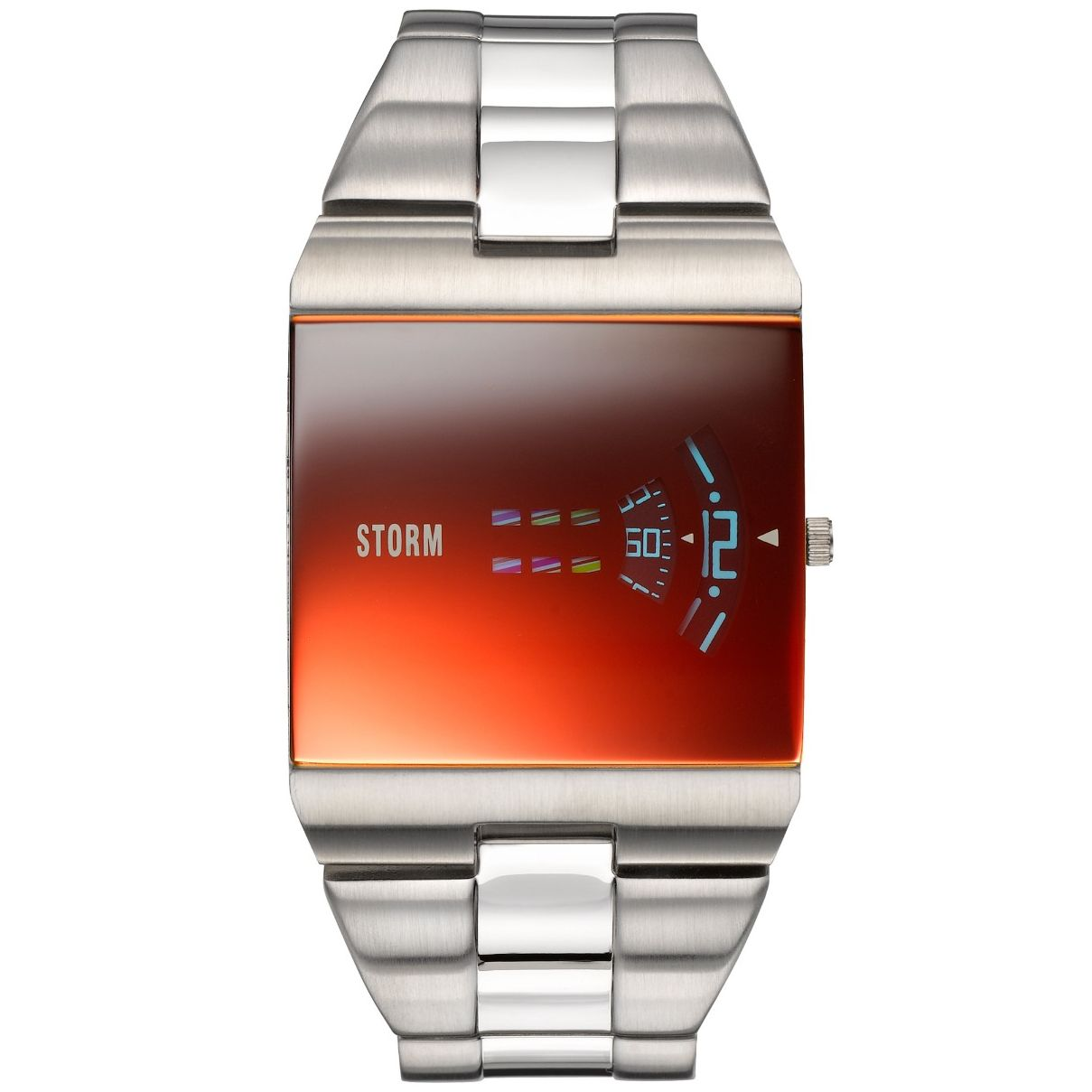 STORM New Remi Square gents watch in laser red (47430/LB). With revolving discs and a lazer red glass.