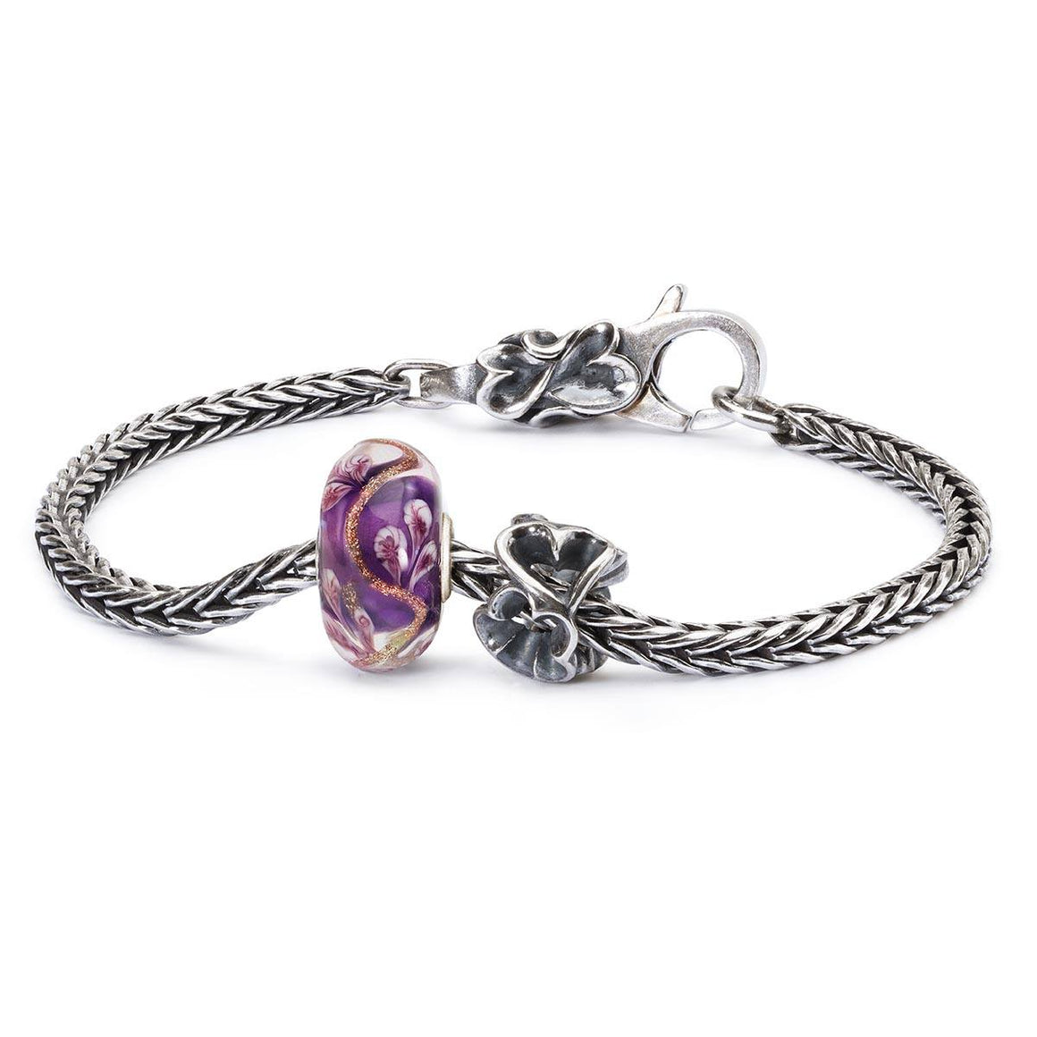 Trollbeads ready-made modern charm bracelet with purple and silver bead on