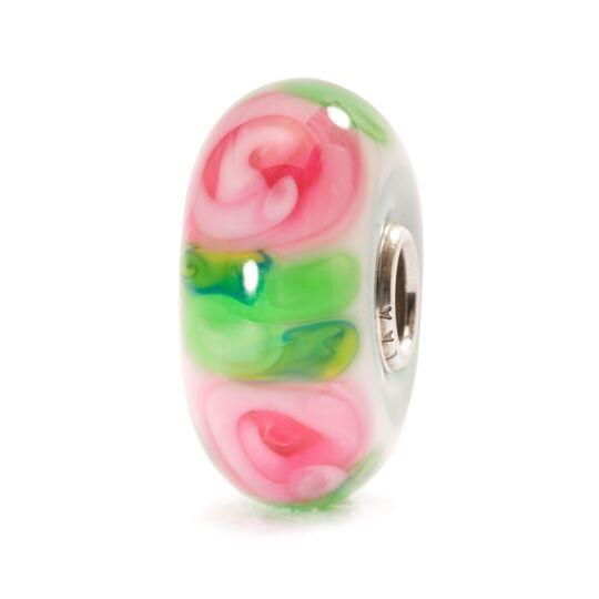Trollbeads Italian glass bead with pink roses and bright, green leaves for a modern charm bracelet