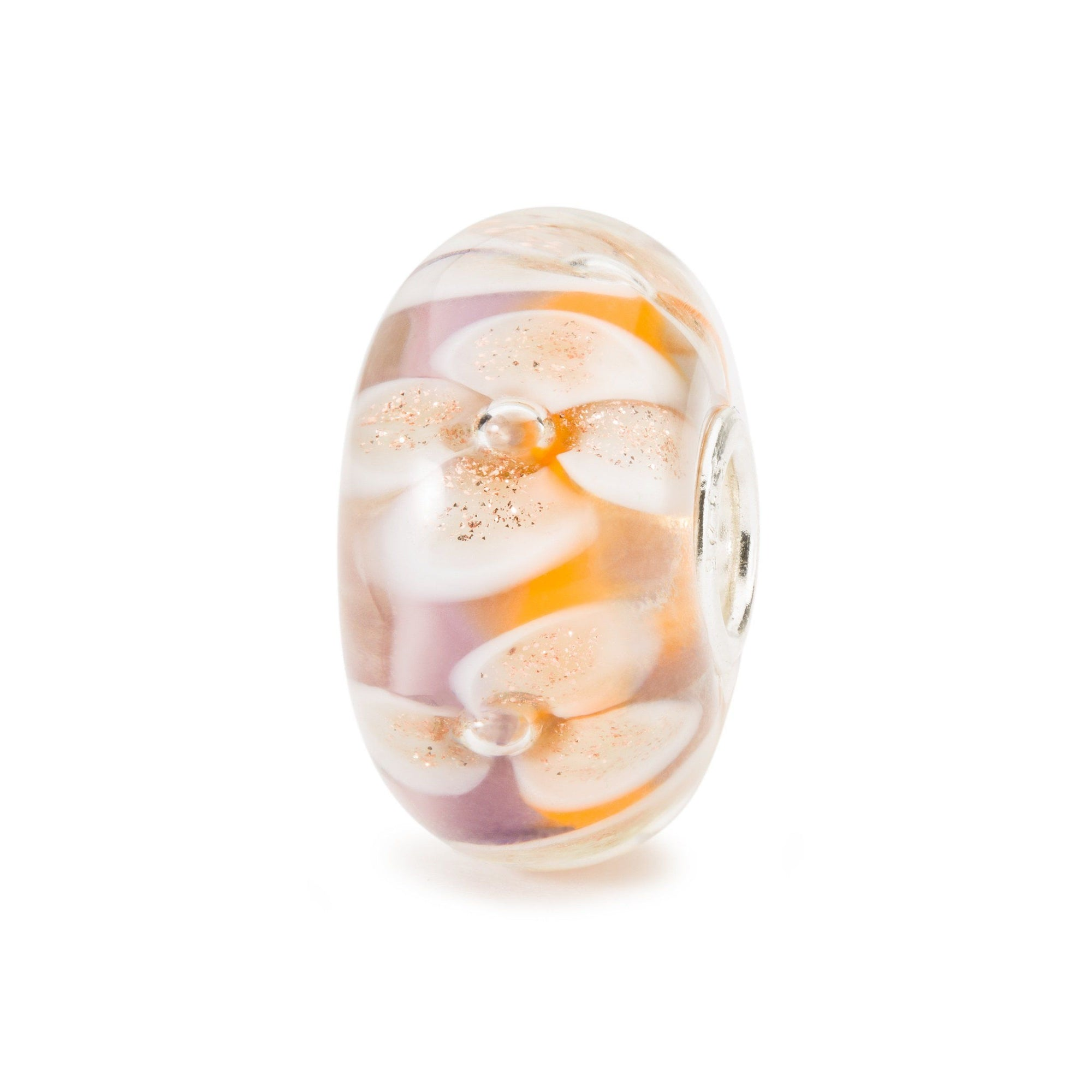Glass charm bead for modern charm bracelet, Trollbeads, in pink and yellow with white flowers