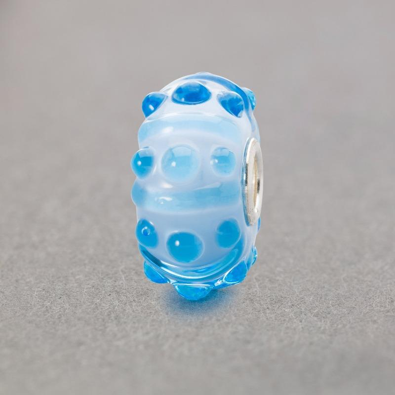 Trollbeads Breeze of Blue Italian Glass bead in blue with raised bobbles on the surface