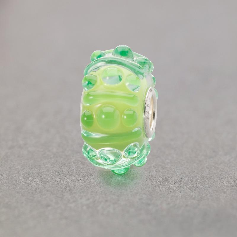 Trollbeads Breeze of Green Italian Glass bead in green with raised bobbles on the surface