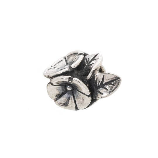 A beautiful pendant bead to wear with a Trollbeads pendant, with silver flowers and leaves adorning it.