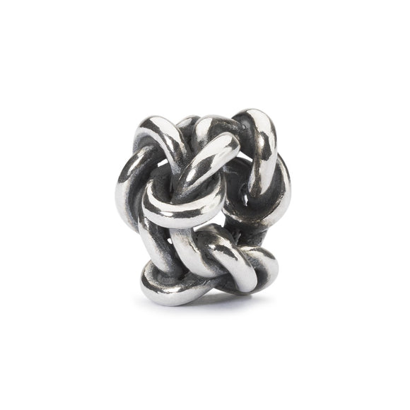 Trollbeads silver charm bead in a twisted knot design symbolising endless Friendship.