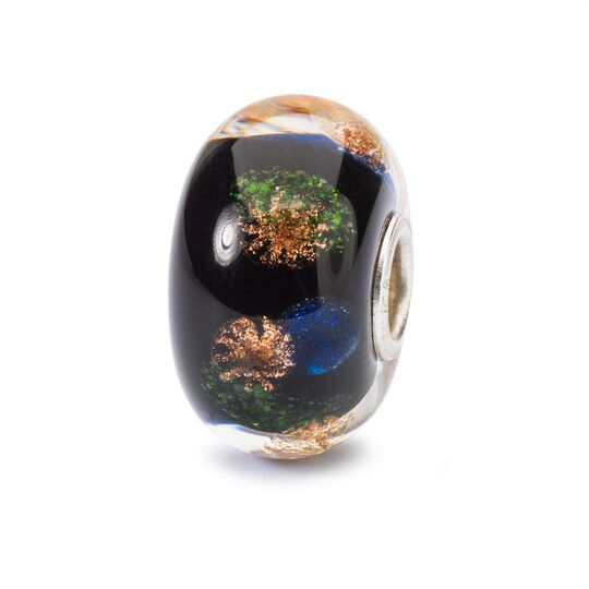 Trollbeads glass bead with firework-like glitter in blue, green and gold within the glass, called 'Happy New Year'