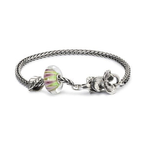 Trollbeads ready-made modern charm bracelet with green and purple bead and silver bead on